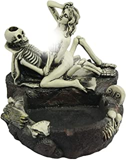 Halloween Indoor Decorations Skull Ashtray Skeleton Couple Resin Ornaments Novelty Cigarette Ash Tray Holder Arts Figurine Spooky Halloween Home Party Decorative Best Gift