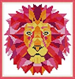 XIU TIME Cross Stitch Stamped Kits Printed Embroidery Cloth Needlepoint Kits Easy Patterns for Beginners (9.45X9.84 Inches)(11CT, Lion)