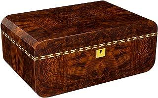 Humidors Cigarr, trä cederträ cigarr, stor kapacitet förvaring cigarr skåp, med termometer, cirka 100 (färg: Brun, storle...
