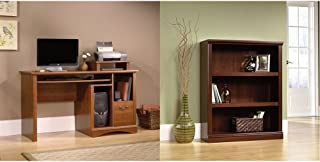 Sauder Camden County Computer Desk, Planked Cherry Finish + Sauder 3-Shelf Bookcase, Select Cherry Finish_Bundle