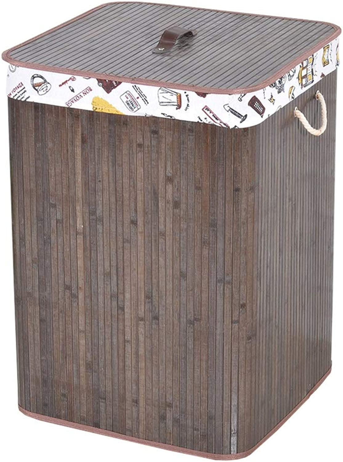 ZHANGQIANG Storage Basket Laundry Basket Rattan Laundry Hamper Flip Lid Storage Box Clothes Toy Storage (color   Dark Brown Square Size, Size   1)