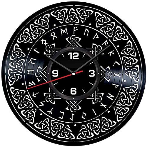 Celtic Symbol Wall Clock Made of Vintage Vinyl Records - Stylish Clock and Amazing Gifts Idea – Unique Home Decor – Personalized Presents for Men Women Kids – Great for Living Room Bedroom Kitchen
