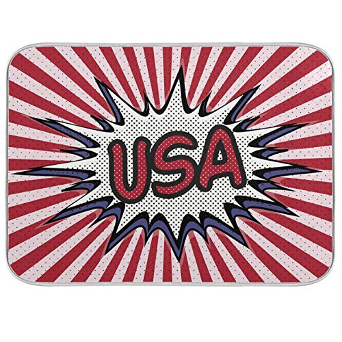 Oarencol USA Pop Explosion Funny Stripe Dish Drying Mat Large 18 x 24 Inch Reversible Drying Mat for Kitchen Counter