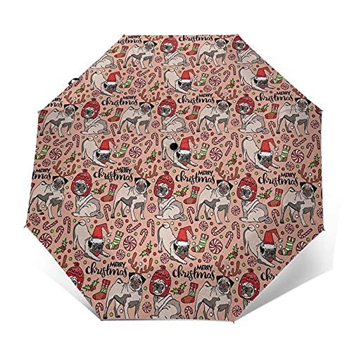 Paraguas Plegable Automático Impermeable Perros de Navidad celebrando Las Vacaciones, Paraguas De Viaje Compacto A Prueba De Viento, Folding Umbrella, Dosel Reforzado, Mango Ergonómico