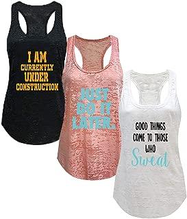 Tough Cookie's Women's Active Wear Burnout Tank Top 3 Pack Deal #5