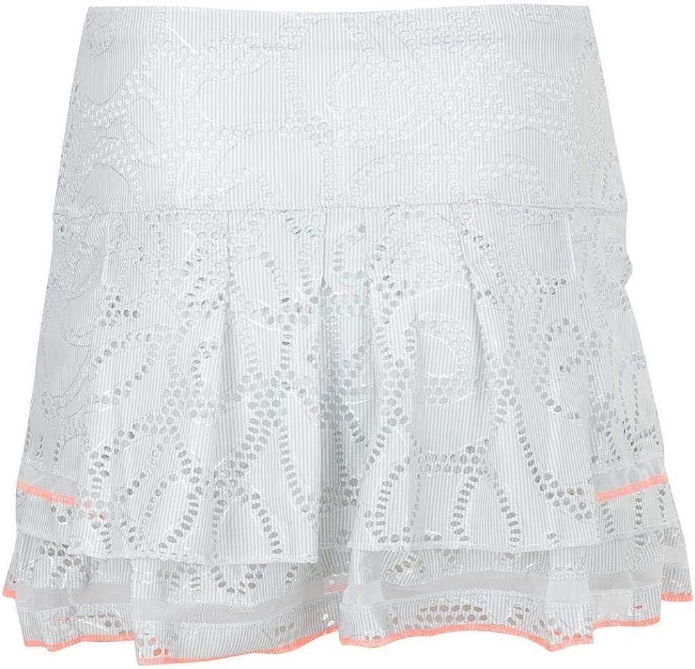 Lucky In Love Women`s Long Lace Line Tier Tennis Skort White
