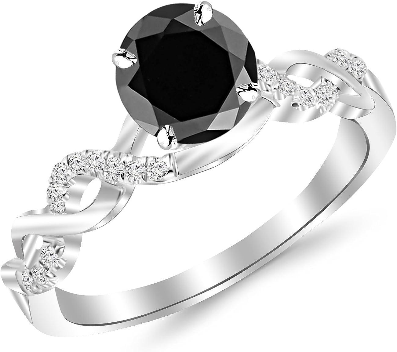 1.13 Carat 14K White Gold Twisting Infinity Gold and Diamond Split Shank Pave Set Diamond Engagement Ring with a 1 Carat Black Diamond Center (Heirloom Quality)