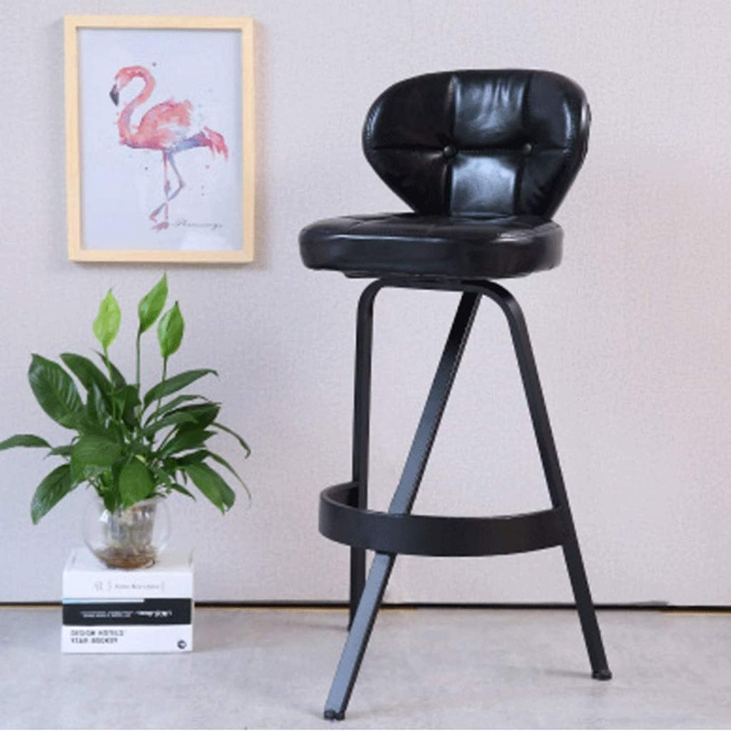 360 Degree in situ redating Wrought Iron bar Stool bar Front Desk high Stool Back Home bar Stool Three color Optional (color   Black)