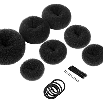Hair Bun Makers, Teenitor Hair Styling Accessories Kit with 5 Bands& 20 Bobby Pins & 7 Buns for Chignon Hair Styles (2 Small 2 Medium 2 Large 1 Extra-large), Black
