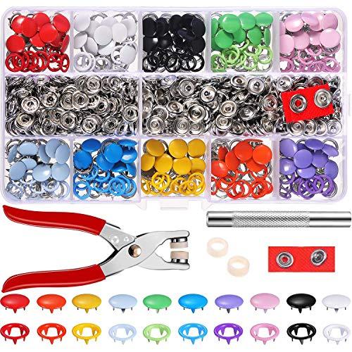 200 pcs Hohle Feste Druckknöpfe Set Metall Ring Button Druckknöpfe für Baby Kinderbekleidung Sewing Craft 9,5 mm, 10 Farben