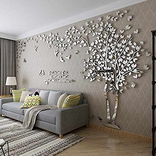 Woneart 3D DIY Riesig Paar Baum Wandtattoos Wandaufkleber Kristall Acryl Wandtattoo Aufkleber Vögel Vine Zweig Wandkunst Wohnzimmer Schlafzimmer Kinderzimmer Sticker (XXL, Silver, Left)