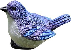 Garden Animals,Garden Animals Statues,Simulation Birds and Birds' Nests Ornament Resin Faux Gardening Bonsai Decoration Accessories Figurines , MiniaturesM Bluebird