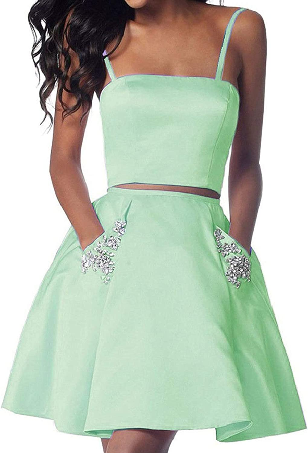 JoyVany Women Beading 2 Piece Homecoming Dresses Short 2018 Formal Gowns with Pockets JH081