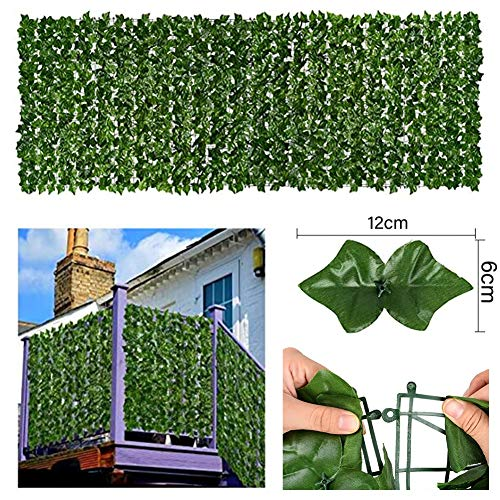 Artificial Tree Fence Mat, Balcony Fence Privacy Screen Wall Decoration Plastic Grille Breathable Anti-UV Outdoor Garden Security Fence (Color : Green, Size : 1.5x4m)