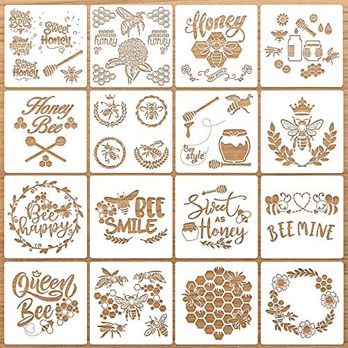 16 Stencil di Ape Modelli Stencil di Pittura Arte di Honey Bee per Scrapbooking Disegno Tracciare Arredamento per Pavimenti Parete Mobili Fai-da-Te Stencil da Bambini, 7,8 x 7,8 Pollici