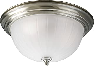 Progress Lighting P3818-09 3-Light Close-To-Ceiling with Etched Ribbed Glass, Brushed Nickel