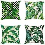 FiedFikt - Funda de almohada para sofá o coche, 4 piezas, diseño de hojas verdes
