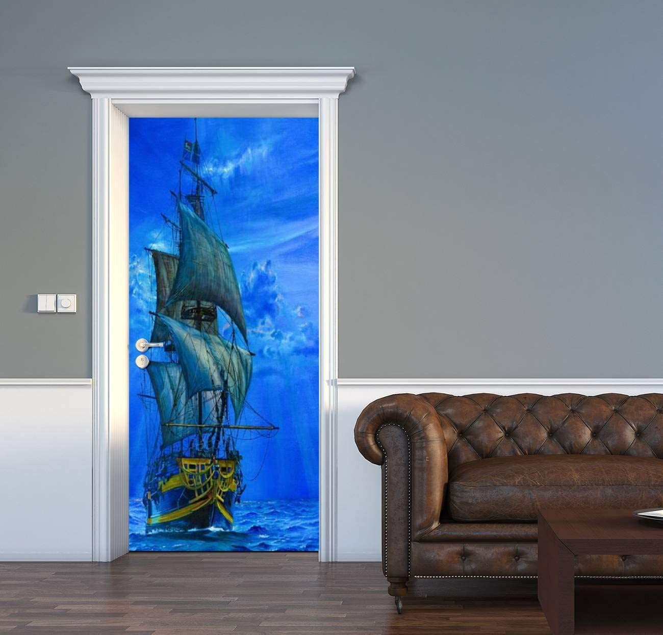 Amazon Com Acechic Door Decal Schooner Sailing At Sunset Pirate Ship 3d Door Sticker Removable Self Adhesive Vintage Wall Decal Mural Wallpaper For Home Decor 30 3 W X 78 7 H Home Kitchen
