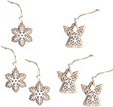 6 Pcs Christmas Tree Decoration Xmas Baubles Hanging Decor Wooden Hollow Double Layer Ornaments