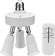 JACKYLED Remote Control 3 in 1 Light Socket Splitter E26 E27 Adapter Converter for Standard LED Bulbs 360 Degrees Adjustable 180 Degree Bendable Max Watt 180W