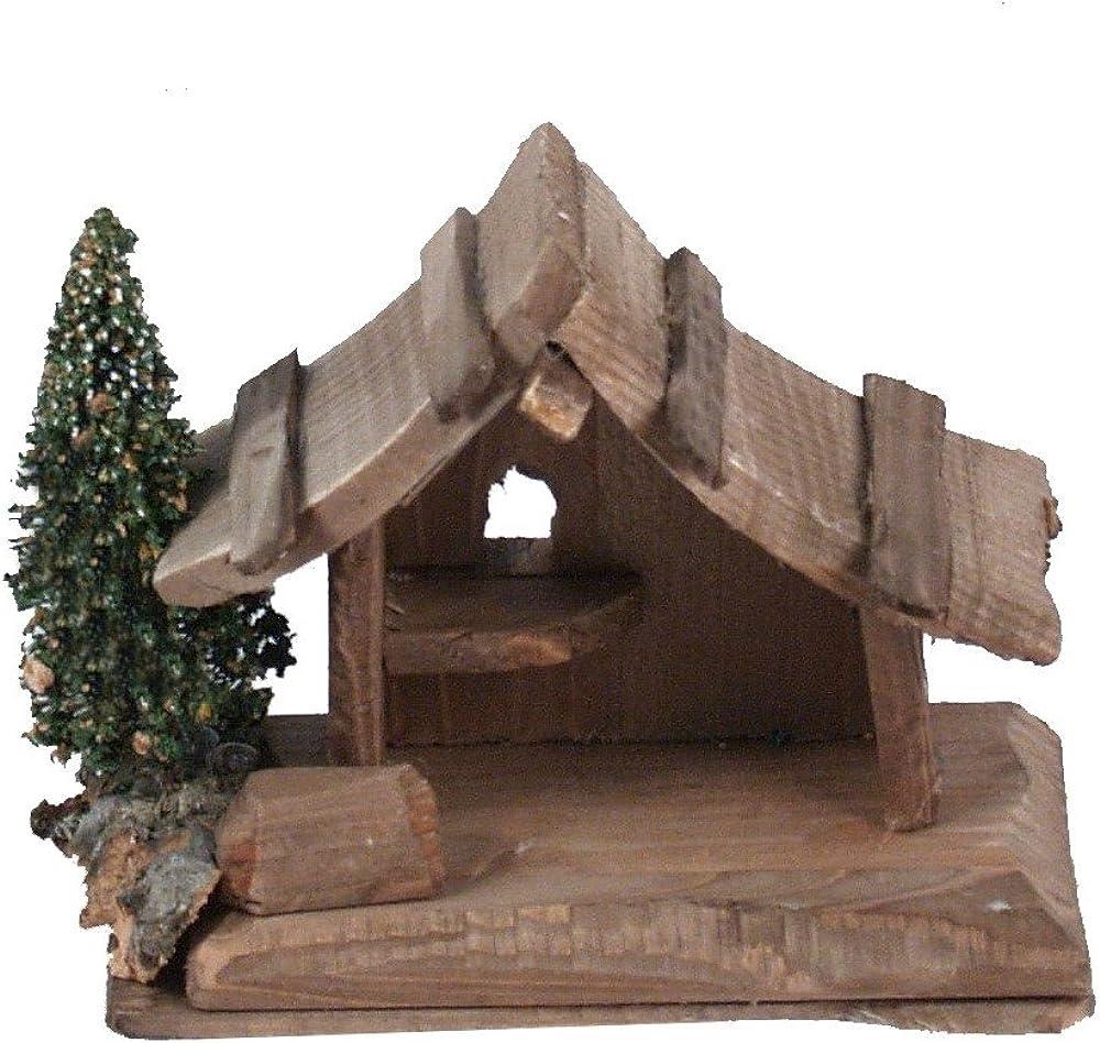 Ferrari & arrighetti capanna in legno, con pino, per nativita da 3,5 cm,paesaggio del presepe. Bertoni_10032