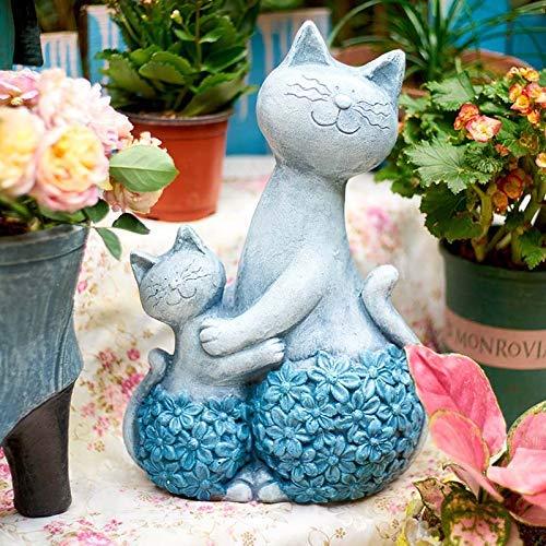 Cakunmik Kreative niedliche Mutter und Kind Katze Statue,Katze Skulptur Garten Hof Dekoration Tierverzierungen Hausgarten Dekor Kunsthandwerk Ornament Geschenk