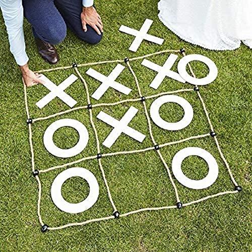 Miss Lovely XXL Tic Tac Toe Spiel für Drinnen & Draussen aus Holz/Party-Spiel XXO Hochzeits-Spiel traditionelle Spiele für Garten & Haus/Partyspiele/Strategiespiel für Kinder & Erwachsene