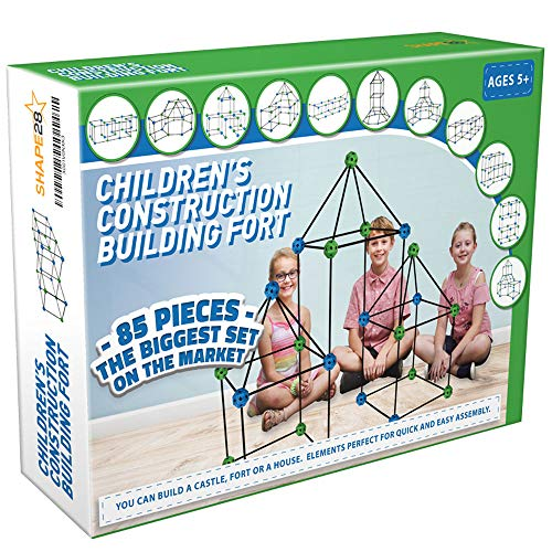 Construction Fort Building Kit - 85 Pieces with Storage Bag - Blue and Green