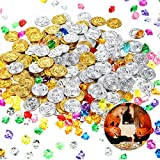 400 Pieces Pirate Toys Gold/Silver Coins and Pirate Gem Jewelry Playset Plastic Treasure Coins Color Gravel (100 Gold Coins, 100 Silver Coins and 200 Gems) for Halloween Party and Pirate Party