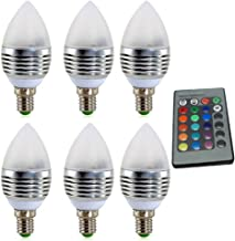 Led Bulbs, YWXLIGHT, Dimmable E14 4W LED RGB LED Candle Lamp Candelabra Candlestick RGB Spot Light Bulb AC 85-265V (6PCS) ...