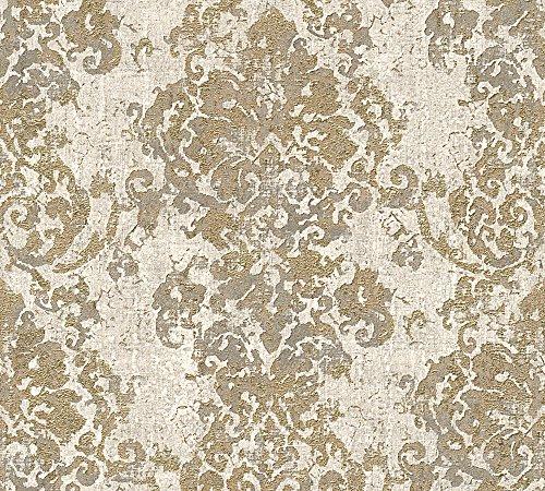 A.S. Création Vliestapete Havanna Tapete mit Ornamenten orientalisch 10,05 m x 0,53 m beige grau metallic Made in Germany 319642 31964-2
