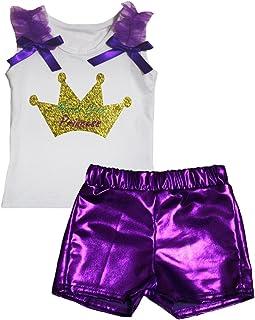 Petitebella Girls' Mardi Gras Princess White Shirt Bling Short Set