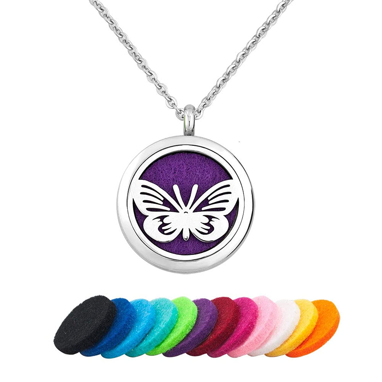 LoEnMe Jewelry Aromatherapy Essential Oil Diffuser Necklace Love Butterfly Animal Locket Pendant Women Girl Gift