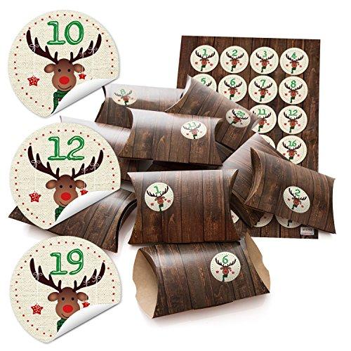 24 kleine geschenkdozen geschenkdozen dozen 14,5 x 10,5 cm + 3 cm hoog houtlook bruin + sticker adventskalendergetallen