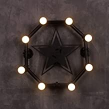 ETH Iron Pipe Industrial Wall Lamp Creative Five-Pointed Star American Bar Lamp Retro Nostalgic Living Room Bedroom Decora...