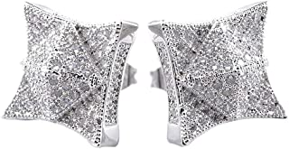 NIV'S BLING - 18k Yellow Gold/White Gold-Plated Iced Cubic Zirconia Lab Diamond Pyramid Square Earrings