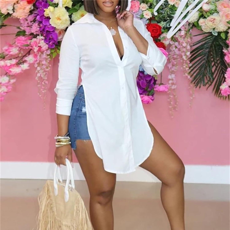 Women's Button-Down Shirts Stylish Long Sleeve Lapel Tops Gradient Floral Fashion Print Dressy Split Hem Blouses Tees