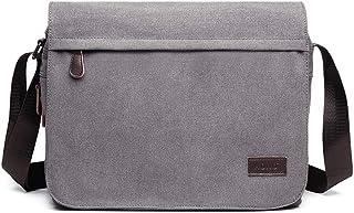 Kono Umhängetasche Leinwand Schultertasche Groß Messenger Bag 13 Zoll Segeltuch Tasche für Arbeit Uni Grau
