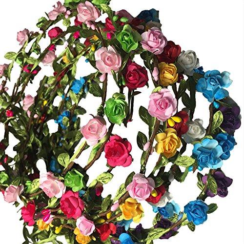 10 diademas de diadema para el pelo, diadema con diseño de rosas, flores, guirnaldas, flores, corona, diadema, flores, diadema, boda, festival, pelo, para novia, mujer, niña (Multicolor)