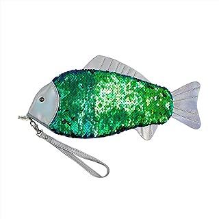 Glitter Reversible Sequins Wristlet Purse Clutch Handbag Cute Fish Shape Makeup Bag