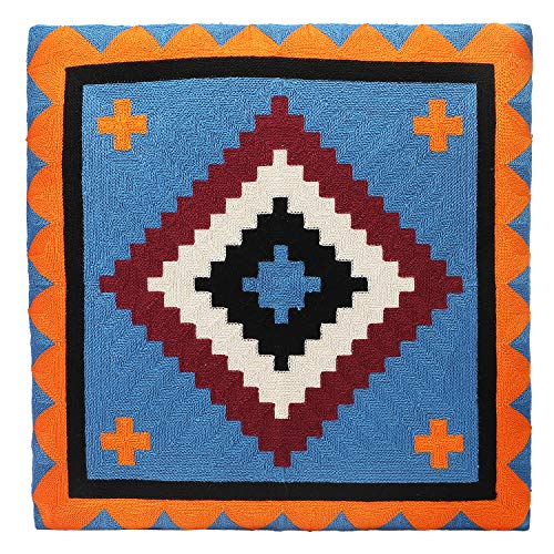 Colorful Geometric Cushion Cover 18x18 in(45 x 45cm),Hand-Woven Decorative Throw Pillows Covers Cushions Cases in Cotton Linen and Velvet with Invisible Zipper, for Car/Sofa/Chair/Bedroom/Home Decor