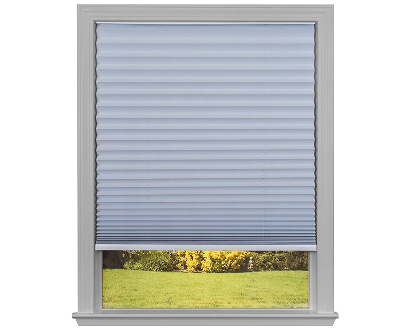 Easy Lift Trim-at-Home Cordless Pleated Light Blocking Fabric Shade White, 36 in x 64 in, (Fits windows 19
