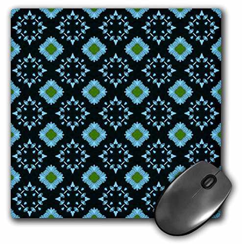 3dRose Jaclinart Blue Green and Navy Geometric Floral Collection - Light Blue and Moss Green Contrasting Diamonds Pattern - Mousepad (mp_64007_1)