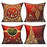 All Smiles Navidad Exterior Fundas de Cojines y de Almohadas Decorativas de Navidad Rojas Doradas 45x45CM Decoraciones para Hogar Sofá Ciervos Navideños y Árboles y Flores