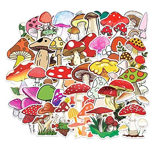 50 pegatinas de graffiti de hongos, plantas frescas pequeñas, pegatinas de equipaje de taza de agua para monopatín de bricolaje extraíbles