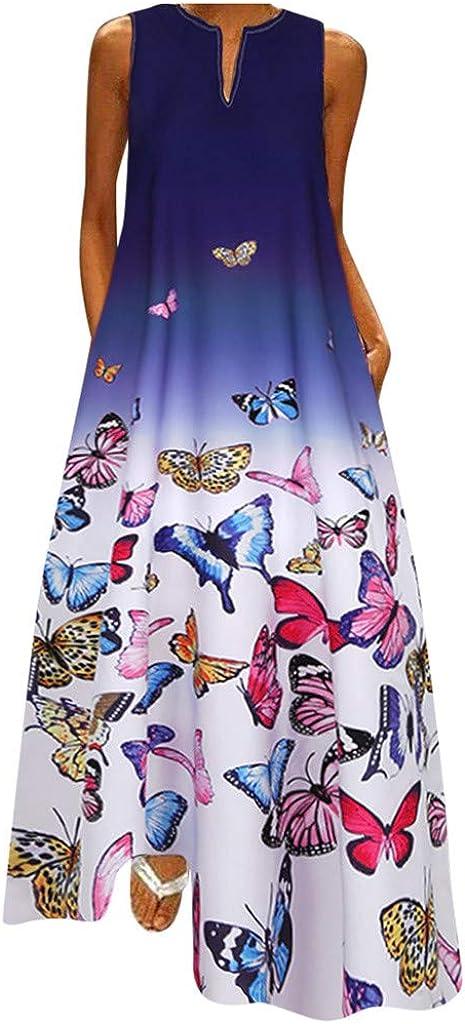 FABIURT Summer Dresses for Women,Womens Casual Loose Sleeveless Dress Maxi Dresses Sexy Party Beach Long Dress Sundress