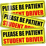 BOKA Student Driver Magnet for Car, Upgraded Please Be Patient New Driver Safety Signs,Teen Rookie Novice Driver Vehicle Bumper Magnetic Sticker for Beginner, High Reflective, Red Font, Set of 3