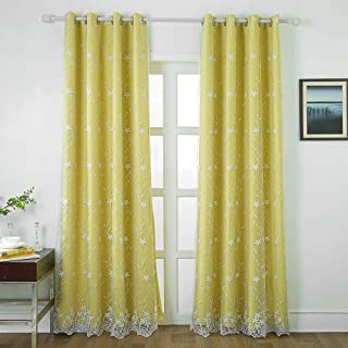 Blackout Room Darkening Curtains for Girls Bedroom, Double Layer Voile Mix Match Flower Embroidered Window Treatment Grommet Sheer Drapes for Living Room 84 Inches Length, 1 Panel 42 x 84 Yellow