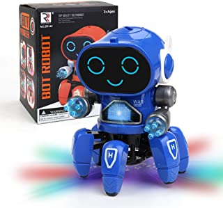 Robot Toy for Kids, Electronic Musical Baby Toys Dancing Walking Singing Robot for Kids with LED Colorful Flashing Lights, Spinning Robot Toy for for Boys and Girls (Blue)