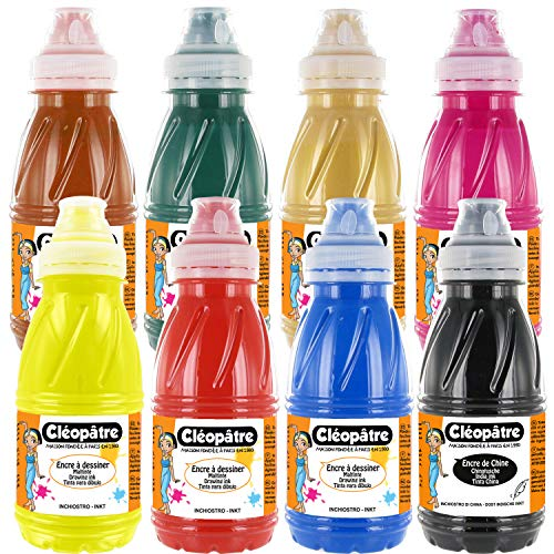 Cléopâtre Lot de 7 Dessiner colorée + 1 Encre de Chine, 8 Couleurs, Flacons de 250 ml